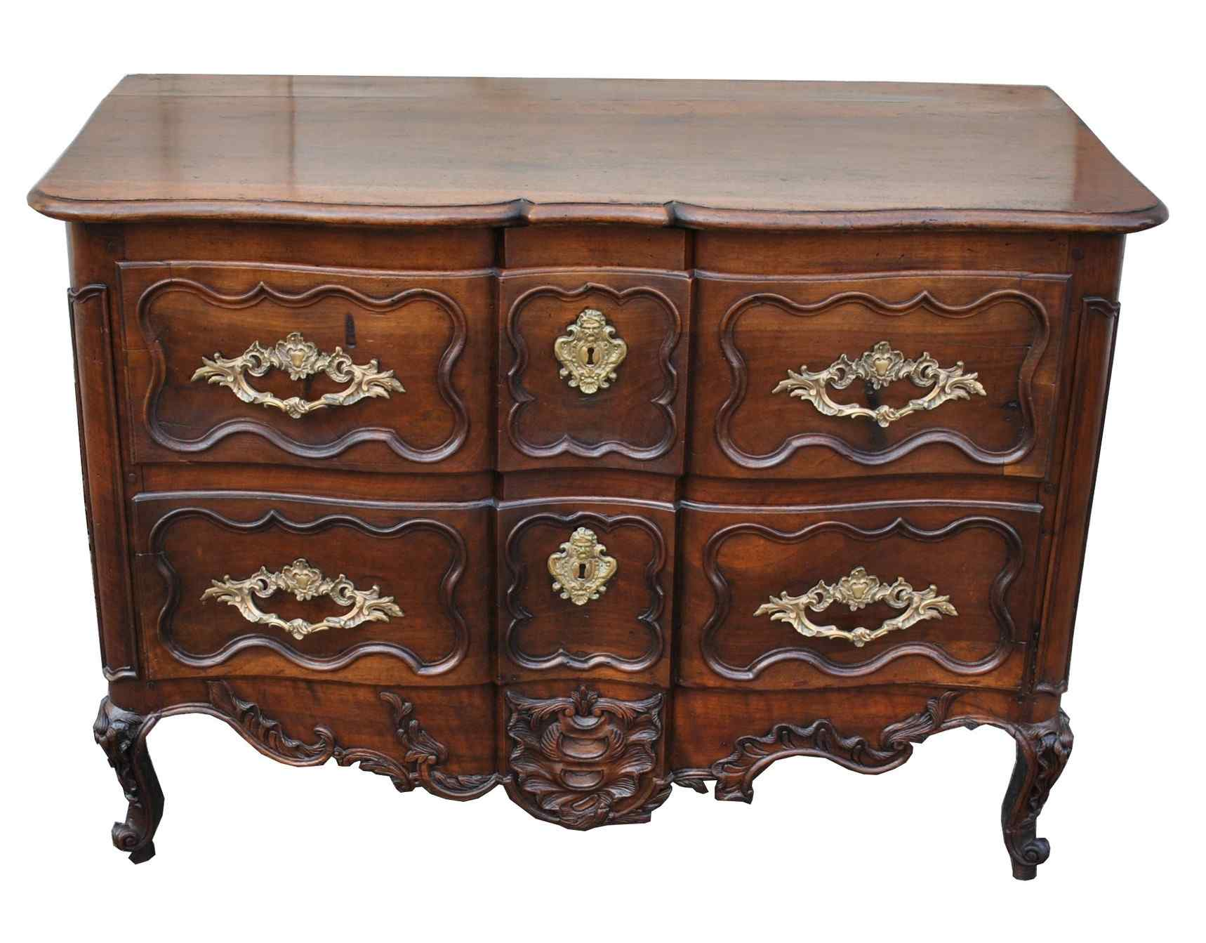 Provencal Commode Walnut Carved, Eighteenth Century