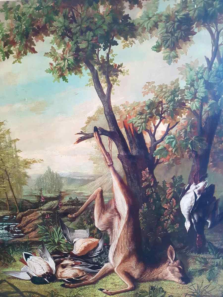 Hunting Table, Trophy, XIXth. Delbeke (240cm X 215cm)
