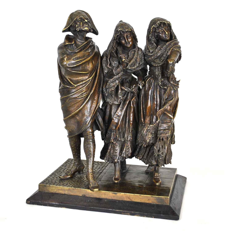 Gruppo di personaggi eleganti in bronzo, A Pandiani, XIX