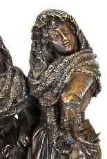 Gruppo di personaggi eleganti in bronzo, A Pandiani, XIX-1
