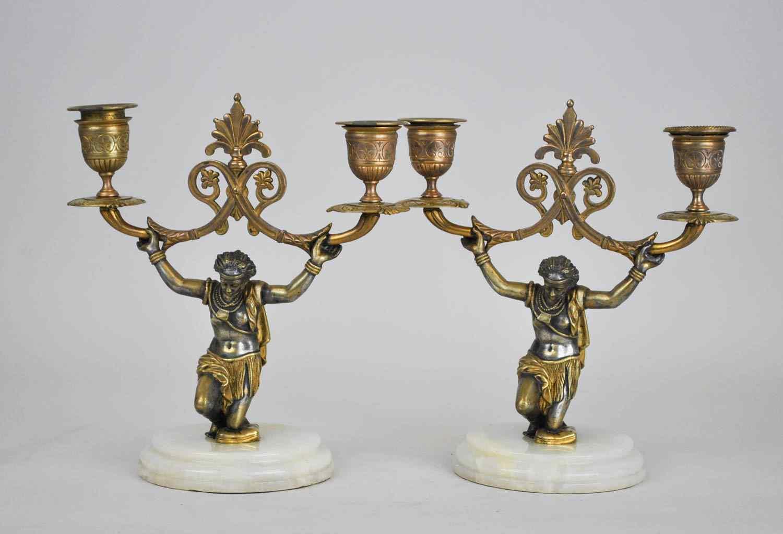 Coppia di Candelabri con Nubiani, XIX Secolo