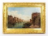 Coppia antica Dipinti ad olio Venezia Alfred Pollentine XIX -12
