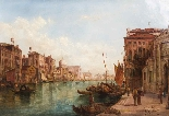Coppia antica Dipinti ad olio Venezia Alfred Pollentine XIX -13