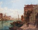 Coppia antica Dipinti ad olio Venezia Alfred Pollentine XIX -14