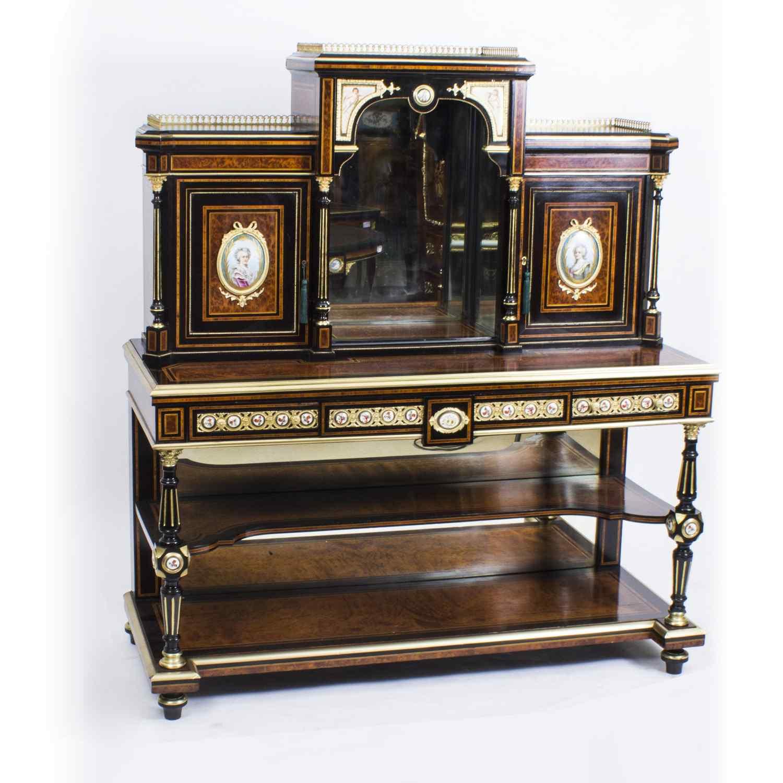 Antico vittoriano Amboyna Inlaid Bonheur Du Jour c.1860