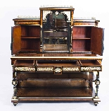 Antico vittoriano Amboyna Inlaid Bonheur Du Jour c.1860-14