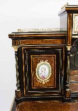 Antico vittoriano Amboyna Inlaid Bonheur Du Jour c.1860-3