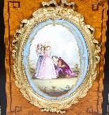 Credenza Ancienne Victorienne En Noyer Sur Plaques De Sevres-9