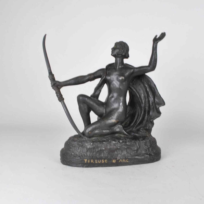 E L'Hoest, tiro con l'arco, firmato bronzo orientalista, XX