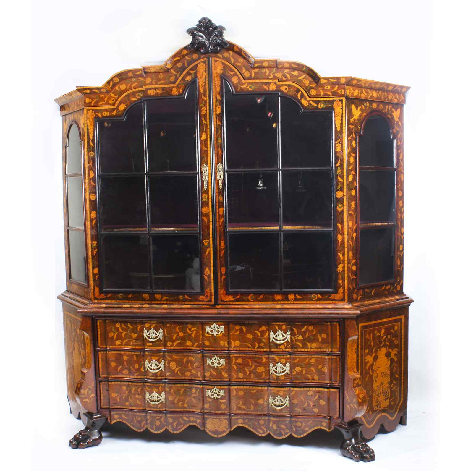 Antique Dutch Marquetry Walnut Display Cabinet Vitrine 19thC