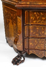 Antique Dutch Marquetry Walnut Display Cabinet Vitrine 19thC-9