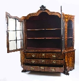 Antique Dutch Marquetry Walnut Display Cabinet Vitrine 19thC-17