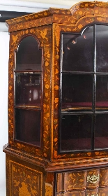 Antique Dutch Marquetry Walnut Display Cabinet Vitrine 19thC-12