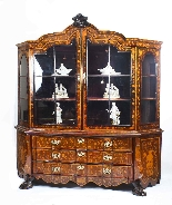 Antique Dutch Marquetry Walnut Display Cabinet Vitrine 19thC-1