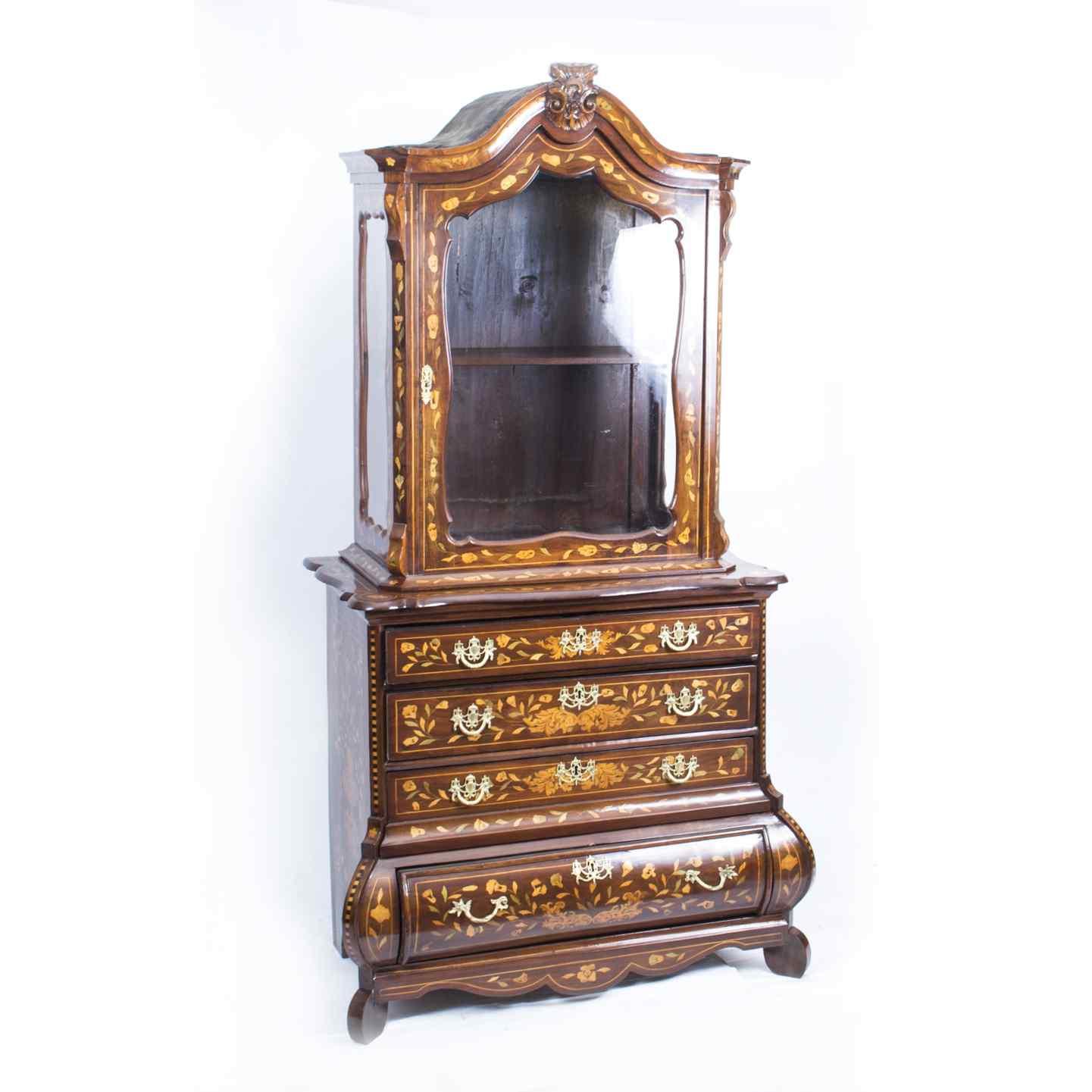 Cabinet Antique Hollandais En Marqueterie Et Noyer Sur Commo