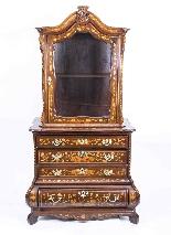 Cabinet Antique Hollandais En Marqueterie Et Noyer Sur Commo-2