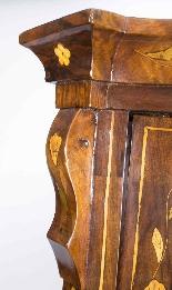 Cabinet Antique Hollandais En Marqueterie Et Noyer Sur Commo-6
