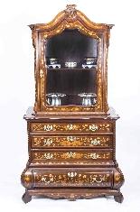 Cabinet Antique Hollandais En Marqueterie Et Noyer Sur Commo-1