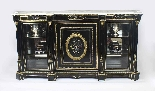 Antique Napoleon III Pietra Dura Ebonised Credenza c.1840-11