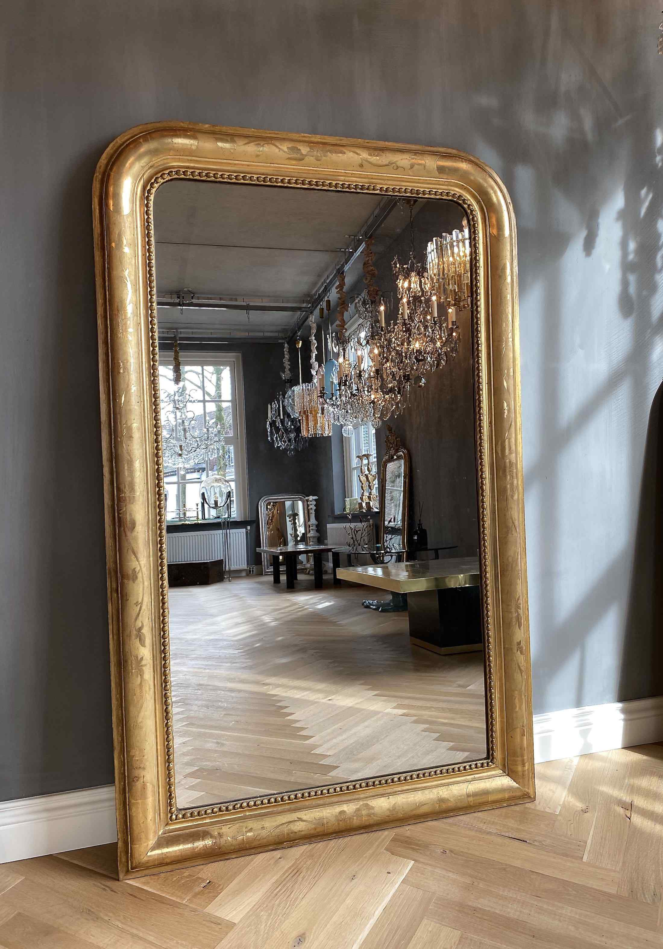 19th c. French gilded mirror Louis-Philippe