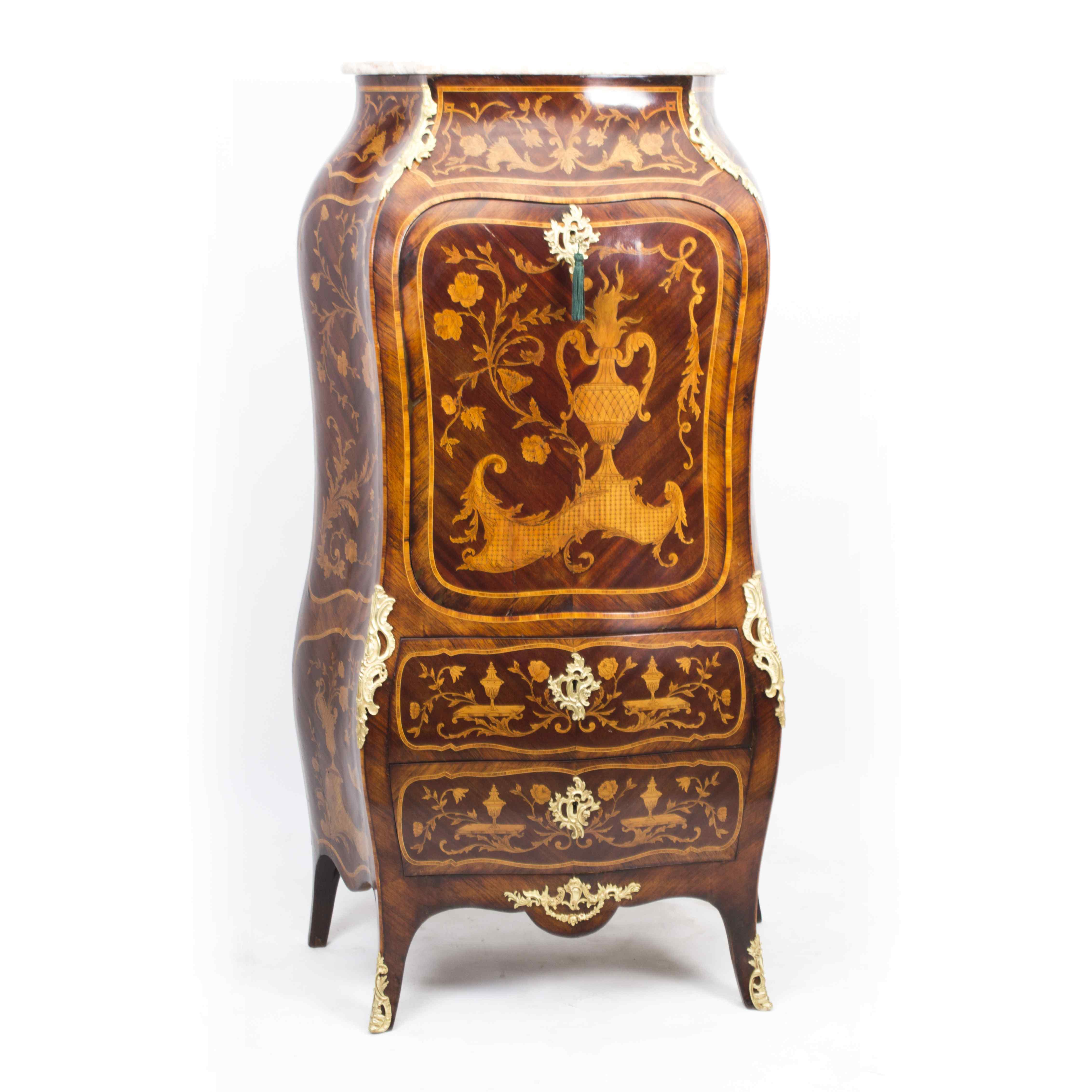 Antique Rococo Revival Marquetry Secretaire a Abattant C1850