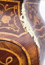 Antique Rococo Revival Marquetry Secretaire a Abattant C1850-6