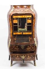 Antique Rococo Revival Marquetry Secretaire a Abattant C1850-12