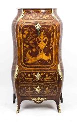 Antique Rococo Revival Marquetry Secretaire a Abattant C1850-1