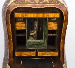Antique Rococo Revival Marquetry Secretaire a Abattant C1850-13