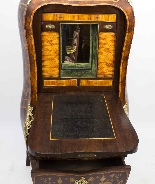 Antique Rococo Revival Marquetry Secretaire a Abattant C1850-20