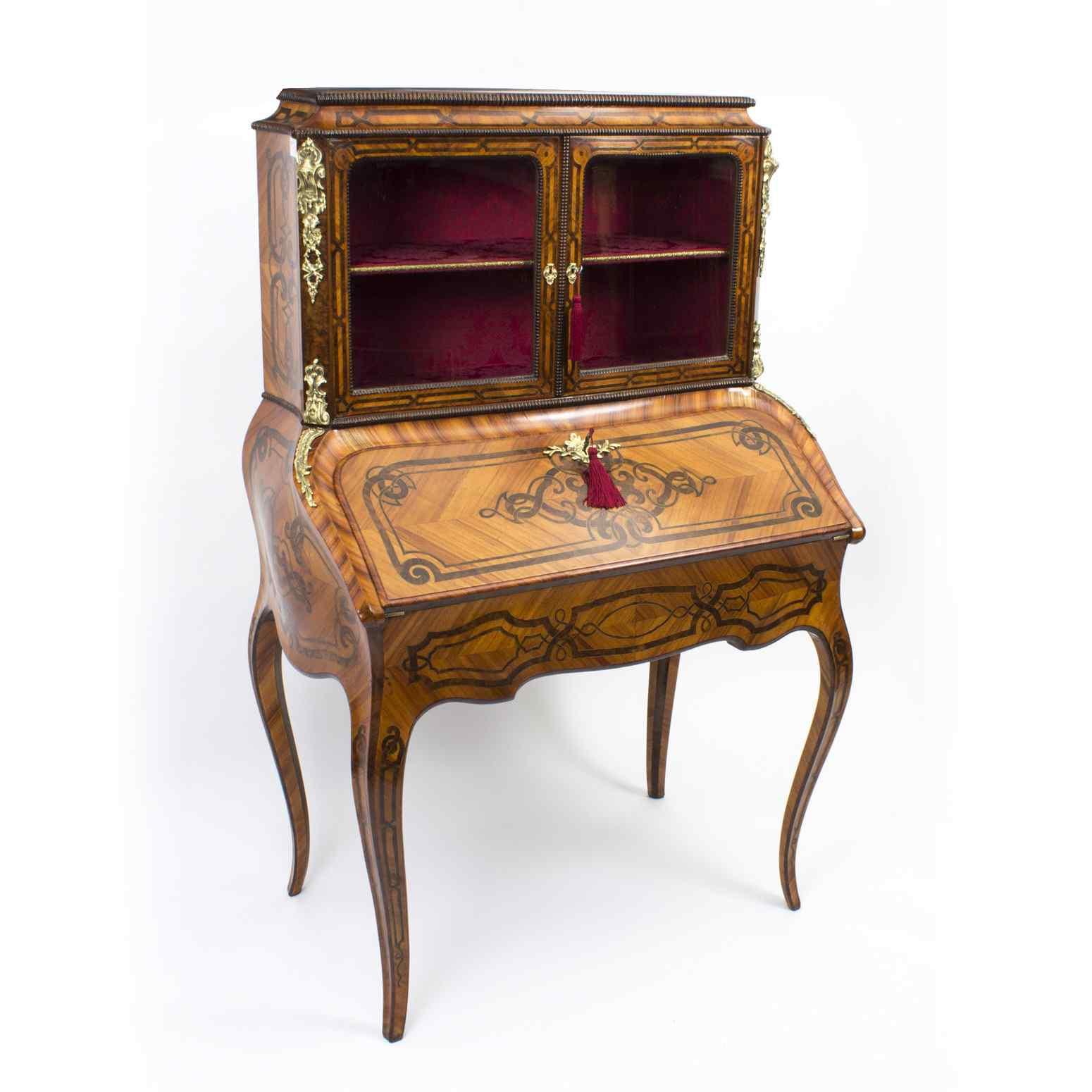 Antico francese Bonheur du Jour Kingwood & Marquetry c.1850