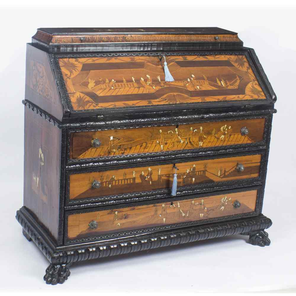 Antique Italian Renaissance Revival Marquetry Bureau 18th C