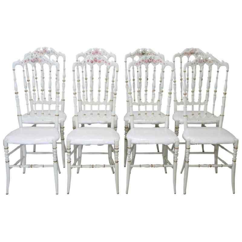 Otto sedie Chiavarine antiche Mod. Parigina Sec XIX
