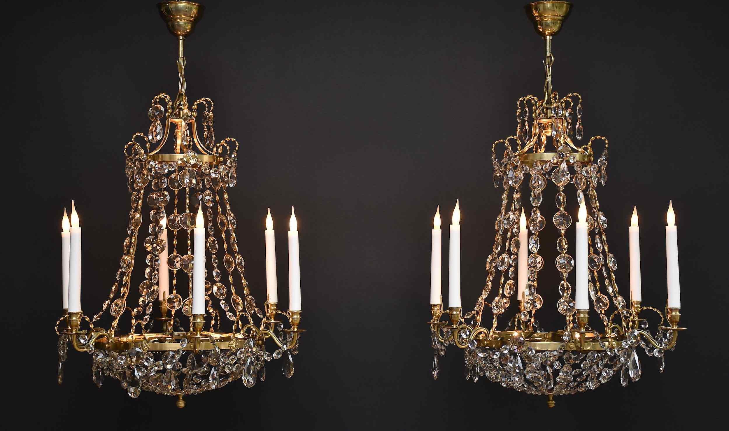 Очень элегантные две люстры в стиле Густава