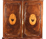 Antique George III Mahogany Satinwood Marquetry Linen Press-2