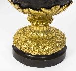 Grande paire ancienne d'aiguières françaises en bronze doré,-12
