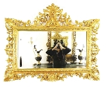 Antique Large English Carved Giltwood Overmantel Mirror-1