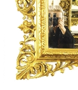 Antique Large English Carved Giltwood Overmantel Mirror-6