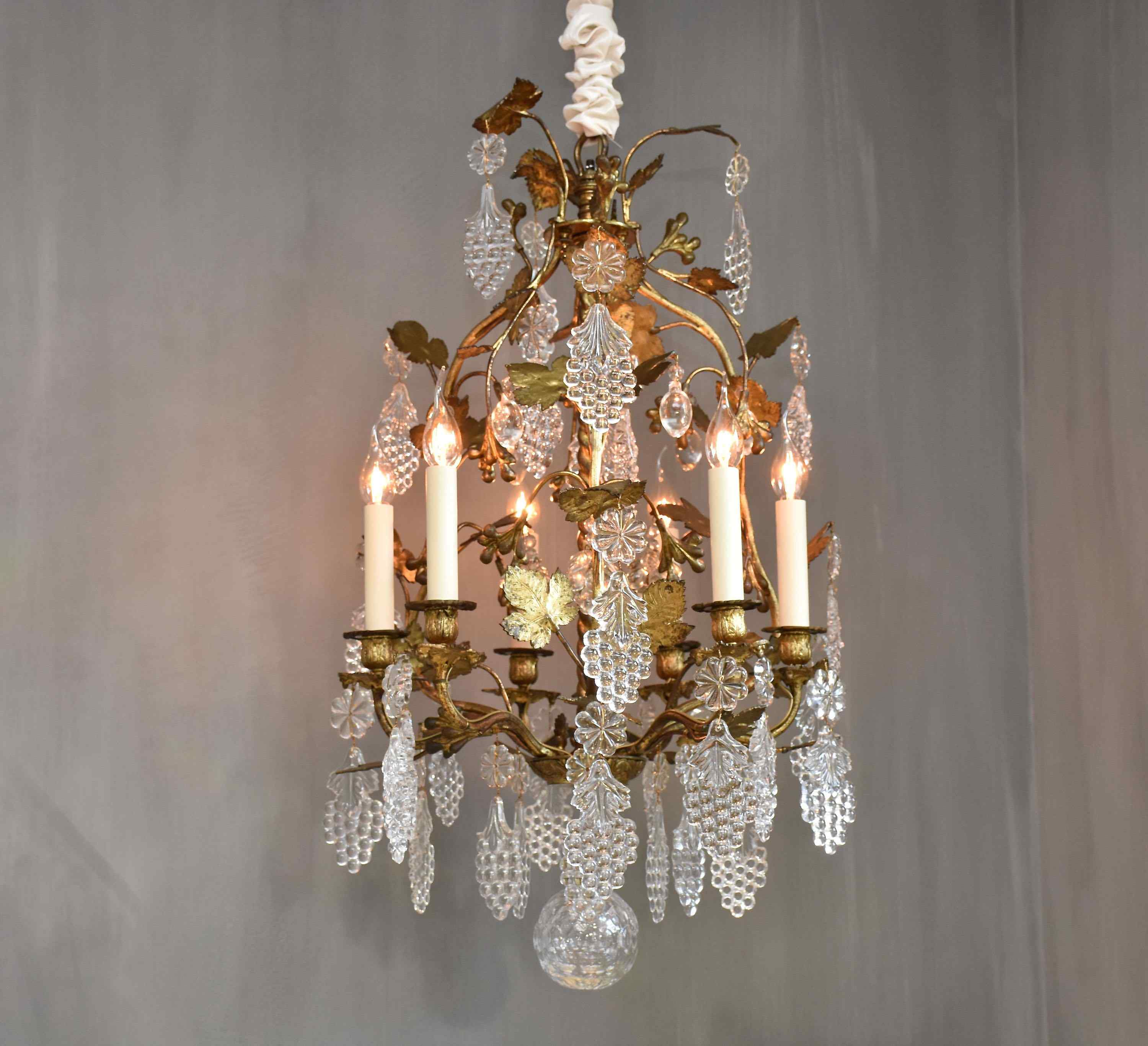 19th c. French bronze chandelier with Baccarat crystals