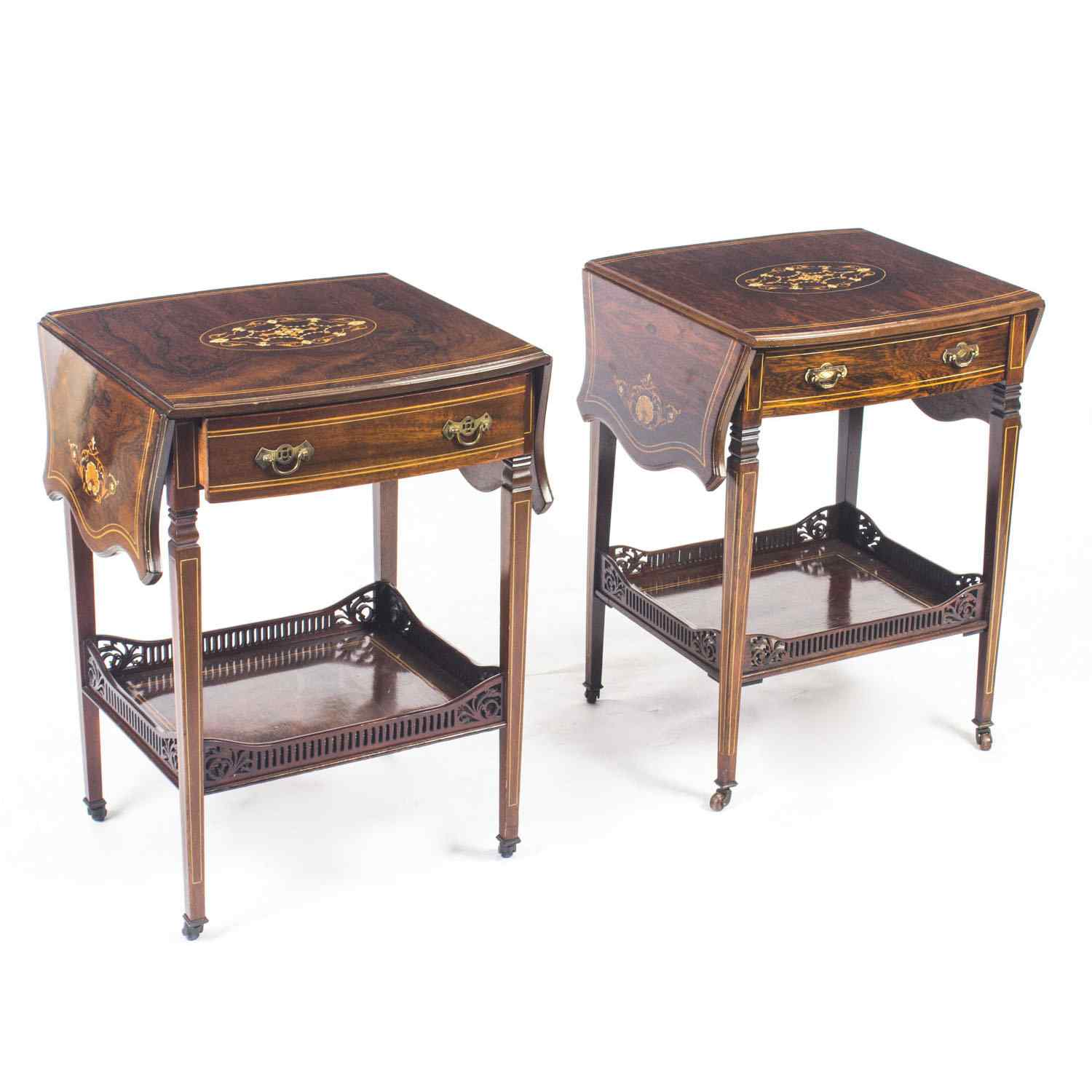 Antique Pair English Marquetry Inlaid Bedside Tables 19th C