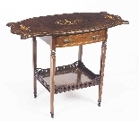 Antique Pair English Marquetry Inlaid Bedside Tables 19th C-0