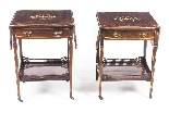 Antique Pair English Marquetry Inlaid Bedside Tables 19th C-1
