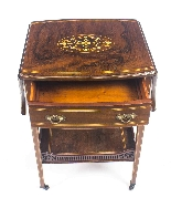 Antique Pair English Marquetry Inlaid Bedside Tables 19th C-6