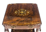 Antique Pair English Marquetry Inlaid Bedside Tables 19th C-4