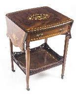 Antique Pair English Marquetry Inlaid Bedside Tables 19th C-3