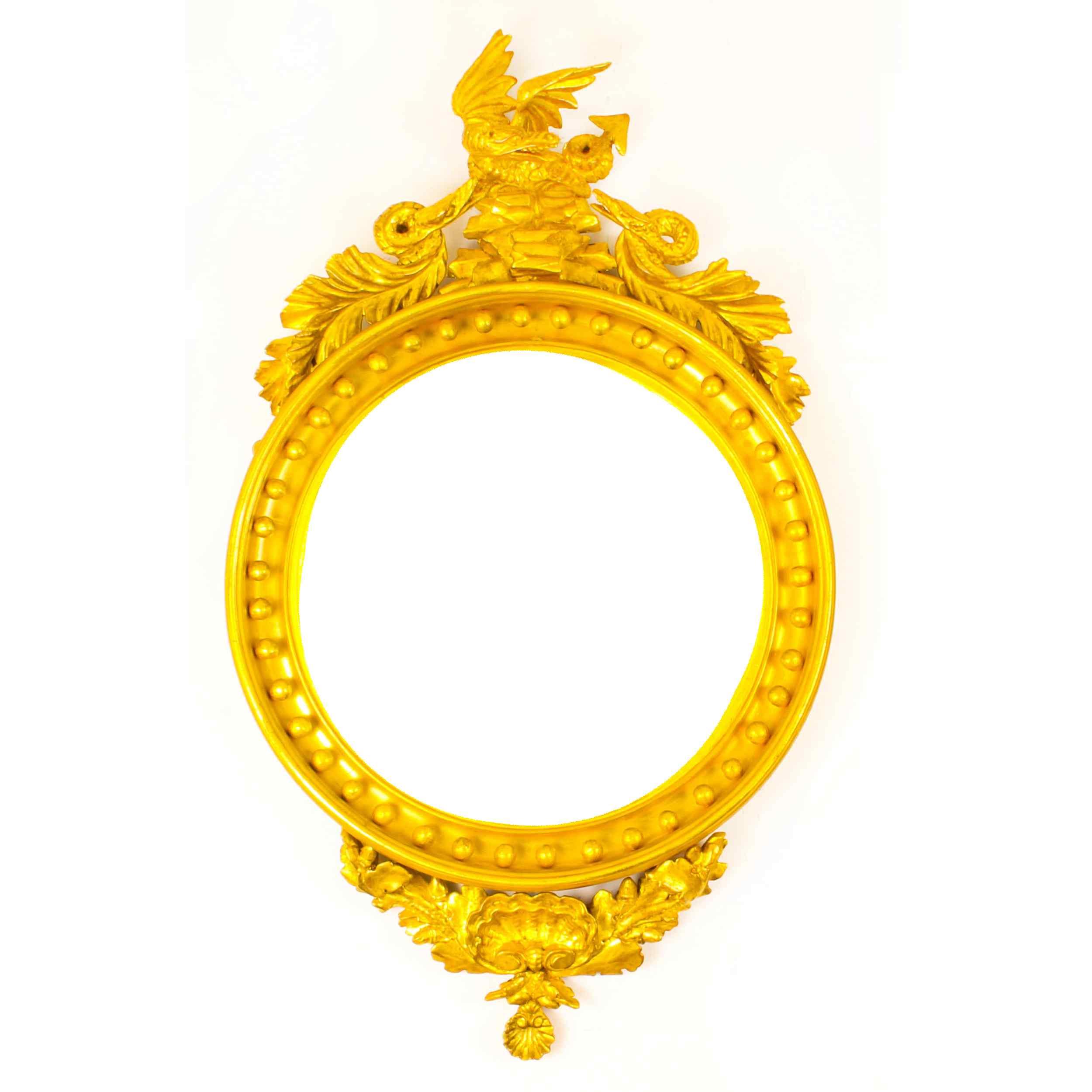 Specchio convesso antico regency inglese dorato del XIX seco
