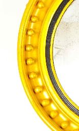 Specchio convesso antico regency inglese dorato del XIX seco-2