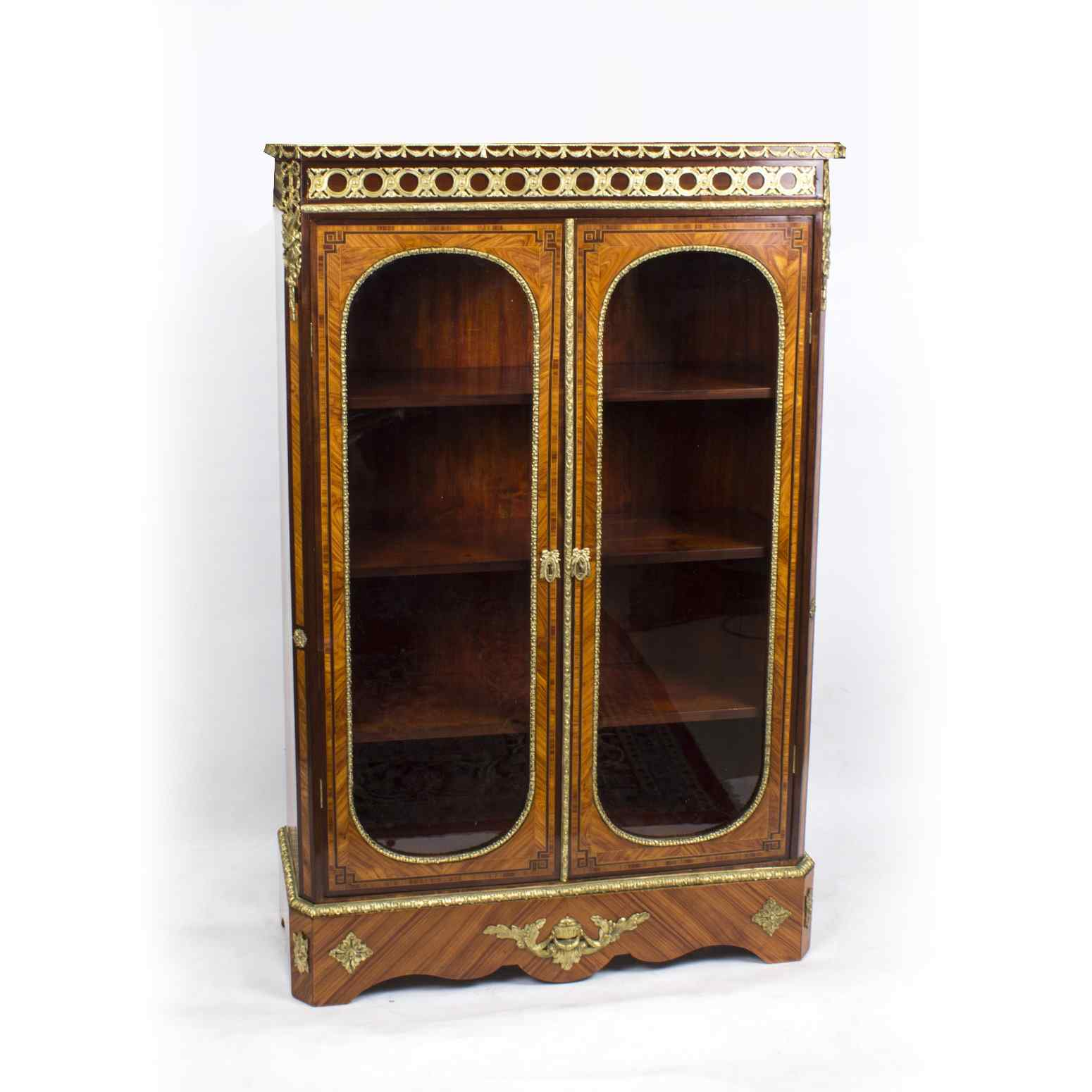 Antique Victorian Burr Walnut Low Display Cabinet C1860