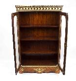 Antique Victorian Burr Walnut Low Display Cabinet C1860-5