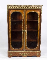 Antique Victorian Burr Walnut Low Display Cabinet C1860-1